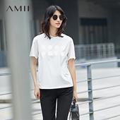 Amii[极简主义] 2017夏新品宽松纯色圆领落肩印花休闲T恤11731490