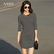 Amii[极简主义]2017夏新款修身五分袖条纹圆领短连衣裙11721299