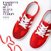 韩版潮流系带女休闲鞋软底拼色女板鞋时尚女单鞋秋季平底软底女鞋