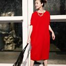 米可可 特●Q0323 韩版大码圆领短袖纯棉纯色宽松T恤连衣裙女19