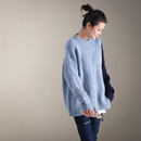 M1922  文艺简约宽松撞色雾霾蓝圆领套头保暖短款毛衣女2019新款米可可