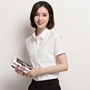 2016夏季新款镂空网格拼接衬衫女短袖职业白衬衣雪纺修身上衣韩版