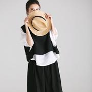 米可可  U188 文艺大码圆领七分袖白衬衫+黑马甲两件套装女 2018