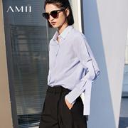 Amii[极简主义]清爽条纹飘带装饰翻领衬衫女2018春休闲宽松上衣
