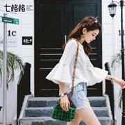 七格格2017夏装新款甜美纯色蕾丝花边荷叶袖宽松圆领上衣小衫L702