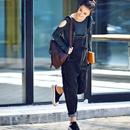 N2510 韩版大兜洋气黑色减龄显瘦直筒连体背带牛仔裤女2019秋米可可