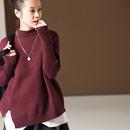 新品包邮 M1202 文艺大码宽松半高领不对称打底外穿毛衣女 2018冬