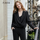 Amii极简港风chic设计感衬衫女2019春新纯色西装领宽松短款上衣