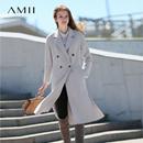 Amii极简chic港风100%羊毛双面呢外套2018秋季新款修身森系大衣女