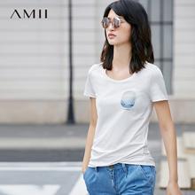Amii[极简主义]夏新气质休闲修身显瘦百搭字印花logoT恤11761860