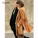 Amii极简chic100%全羊毛双面呢外套女2018秋冬新款修身小个子大衣