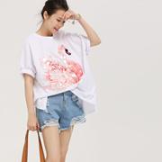 米可可 T1551韩版宽松圆领亮片天鹅印花半袖纯棉白T恤女 2018夏