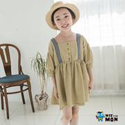 【蓝角兽】韩国童装女孩中小宝包边连衣裙条纹韩版女孩纯色7分袖WMCO2198