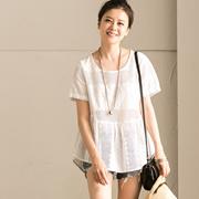 C7352A 甜美棉质纯色镂空拼接圆领套头娃娃款短袖衬衫 米可可