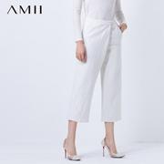 Amii[极简主义]秋冬新品宽松休闲呢子加厚八分阔腿裤11581745