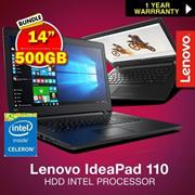 新!联想IdeaPad 110 -14IBR 80T6 | 5IBR(N3060)4GB RAM 500GB硬盘英特尔处理器。最超值
