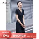 Amii极简小众chic法式连衣裙2019夏季新V领不规则下摆修身中长裙
