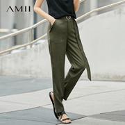 Amii[极简主义]2017夏新品百搭宽松高腰纯色休闲直筒长裤11780751