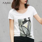 Amii[极简主义]2017夏季新款大码休闲弹力抽象印花修身短袖T恤女