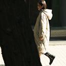 米可可  W1923文艺大码韩版衍缝连帽保暖中长款面包棉服女18冬新