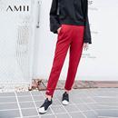 Amii[极简主义]冬新品字母印花运动休闲小脚裤11767288