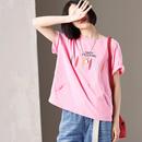 米可可 T5092 文艺大码圆领短袖彩色刺绣粉色宽松T恤女 2019夏