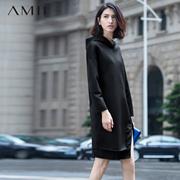 AMII【极简主义】连帽长袖茧型空气层开叉摆大码连衣裙11591312