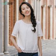 茵曼2018夏装新款圆领纯色拼接花边纯棉短袖衬衣衬衫女1882013268