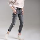 米可可  N7168 韩版做旧破洞毛边纯棉修身小直筒牛仔裤女 2018秋