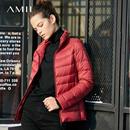 Amii極簡韓版短款90白鴨絨外套女2018冬超輕薄大碼紅色加厚羽絨服