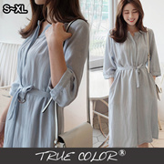 [TRUE COLOR]Elbow Sleeve Midi Dress with Sash/NN10