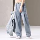 米可可 N6070韩版捏褶直筒宽腿高腰牛仔长裤潮蓝色老爹裤女2019