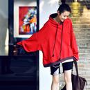 R5028 韩版oversize纯棉破洞撞色连帽宽松百搭减龄卫衣女潮2019米博亚亚博娱乐