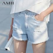 Amii[极简主义]2016夏新品修身纯色磨破毛边插袋牛仔短裤11640541