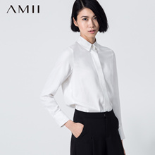 AMII【极简主义】秋新款纯色POLO翻领宽松衬衣百搭通勤职业长袖衬衫女
