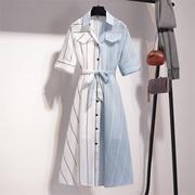 裙子夏装女2018新款韩版中长款衬衫裙气质条纹拼接两件套连衣裙潮
