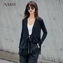Amii[極簡主義]綁帶毛衣外套女秋裝2017新款修身雪紡拼接開衩上衣