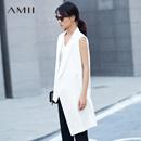 Amii[极简主义]休闲帅气翻驳领不对称马夹2018春季落差下摆上衣
