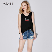 Amii[极简主义]夏装2017新款女圆领字母印花大码百搭背心11721670