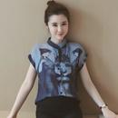 短袖雪纺衫女2016夏装韩版女装宽松水墨印花上衣复古衬衫