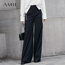 Amii[极简主义]帅气休闲 搭片阔腿裤女 2018春装新款宽松长裤子