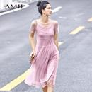 Amii极简仙气连衣裙两件套2019夏季新款字母绣花浪漫透视网纱裙