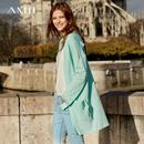 Amii极简欧货慵懒毛针织衫女2019春季新款纯色宽松落肩袖中长开衫