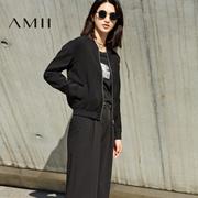 Amii[极简主义]2017春装新品时尚帅气修身显瘦棒球外套女11740347