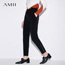 Amii[极简主义]2017秋装新款简洁帅气拉链装饰休闲长裤女11775079