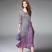 中国风2017夏季新款女真丝撞色拼接中袖长裙女圆领修身显瘦连衣裙