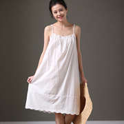 米可可  Q58 文艺大码吊带花边衬裙宽松中长款纯棉连衣裙女 新春