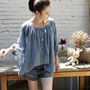 米可可 C9109 文艺捏褶小扣开衫纯棉娃娃款宽松薄款雾蓝衬衫女