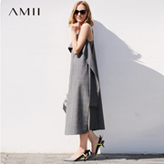 Amii[极简主义]优雅露背 精梳羊毛格纹吊带连衣裙 2018春新长裙