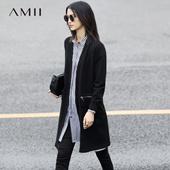 Amii[极简主义][极简主义]2017春新女大码休闲V领插袋拉链毛针织衫11771374